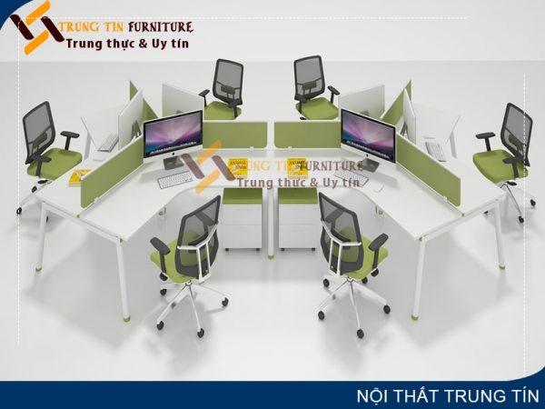Cụm bàn làm việc 4 người kết hợp vách ngăn kính VNK21