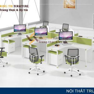 Cụm bàn làm việc 6 người VNK34 chân sắt, vách mặt bàn hiện đại